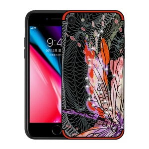 NXE Unique Series Dragonfly Pattern Rhinestone Decorated TPU Gel Case for iPhone 8/7 4.7-inch - Red