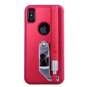 Portable Extendable Monopod Wired Selfie Stick TPU + PC Kickstand Mobile Case for iPhone X/10 - Red