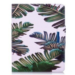 Patterned Leather Wallet Stand Smart Casing for iPad 4 / 3 / 2 - Banana Leaves