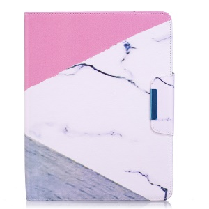 Patterned Leather Smart Wallet Tablet Cover for iPad 4 / 3 / 2 - Triangle and Marble Grain