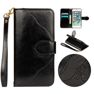 Retro Style Laser Carving Pattern Protective Flip Mobile Case Accessory with Strap for iPhone 8/7 4.7 inch - Black