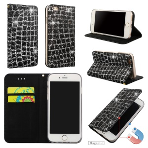 Glitter Sequins Decorated Leather Card Slots Stand Case for iPhone 6s/6 4.7 inch - Black