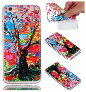 Rubberized Embossed Soft Slim TPU Mobile Phone Cover for iPhone 6s Plus / 6 Plus 5.5 inch - Tree Trunk