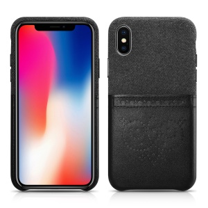 XOOMZ Cloth + PU Leather Card Slot Shell for iPhone X - Black