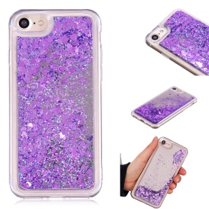 For iPhone 8/7/6s/6 Floating Glitter Sequins Quicksand Mirror Surface TPU Protective Case - Purple