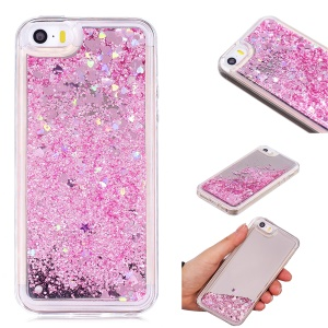Dynamic Glitter Sequins Quicksand Mirror Surface TPU Shell for iPhone SE/5s/5 - Pink