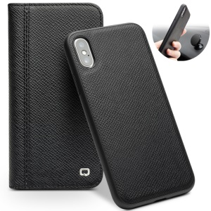 QIALINO Desmontable 2-en-1 Smart Wake / Sleep Funda De Piel Genuina De Piel De Vaca Para Iphone X (diez) 5.8 Pulgadas - Negro