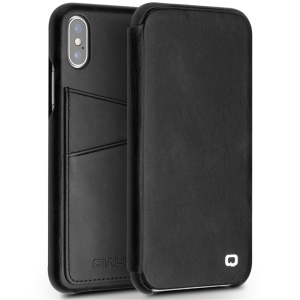 QIALINO Genuine Leather Card Holder Smart Case for iPhone X/10 5.8 inch - Black