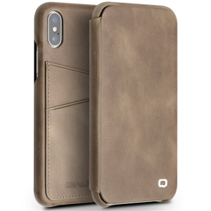 QIALINO Genuine Leather Card Holder Smart Phone Cover for iPhone X/10 5.8 inch - Khaki