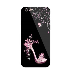 NXE Rhinestone High-heel Shoe Tempered Glass Back PC + TPU Hybrid Case for iPhone 6s Plus / 6 Plus - Pink