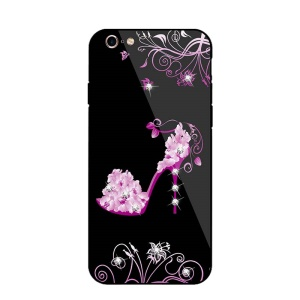 NXE for iPhone 6s / 6 Diamante High-heel Shoe Tempered Glass Back PC + TPU Hybrid Cover - Rose