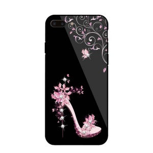NXE for iPhone 8 Plus / 7 Plus 5.5 inch Rhinestone Decor Patterned TPU + PC + Glass Case - Pink High Heel