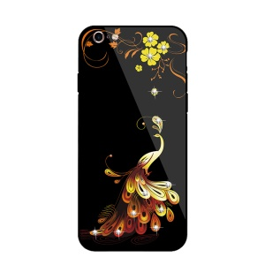 NXE Rhinestone Phoenix Flower Pattern 9H Glass Coated TPU + PC Hybrid Case for iPhone 6s 6 - Yellow