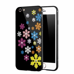 NXE Rhinestone Decor Patterned Glass Case TPU + PC Phone Case for iPhone 6s / 6 - Colorful Snowflakes