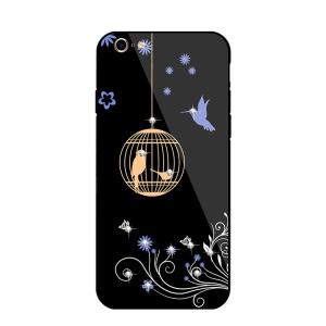 NXE for iPhone 6s/6 Rhinestone Decor Birds Birdcage Flowers Patterned TPU + PC + Glass Hybrid Cover - Orange