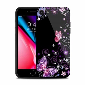 NXE Rhinestone Decor Patterned TPU + PC + Glass Case for iPhone 8/7 4.7 inch - Elegant Butterflies and Vines