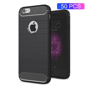 50Pcs/Set Carbon Fibre Brushed TPU Case for iPhone 6s 6 - Black