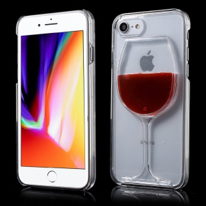 3D Red Wine Glass Dynamic Liquid Clear Plastic Case for iPhone 8/7