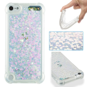 Dynamic Liquid Glitter Powder Heart Shaped Sequins TPU Shockproof Case for iPod Touch 6/5 - Pink