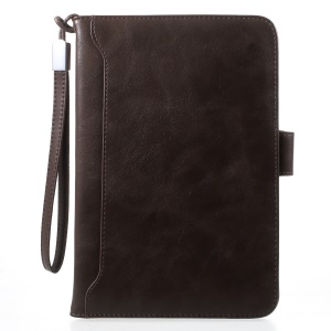 Wallet Stand Leather Smart Tablet Cover with Elastic Hand Strap for iPad mini 4/3/2/1 - Coffee