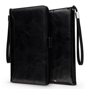 Auto-wake/sleep Wallet Stand Leather Cover with Hand Strap for iPad 9.7 (2018)/9.7-inch (2017)/Air/Air 2 - Black