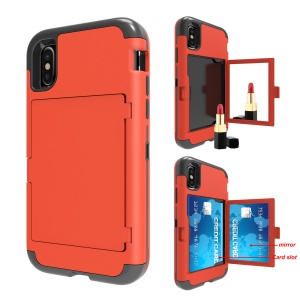 For iPhone X (Ten) Shockproof Card Holder Mirror PC+TPU Hybrid Cover - Red