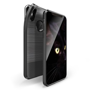 DUX DUCIS S Series Carbon Fiber Texture Brushed TPU Phone Case for iPhone XS/X 5.8 inch - Black