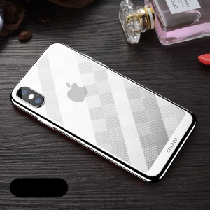 SULADA Electroplated Soft TPU Cell Phone Cover for iPhone XS / X 5.8 inch - Silver