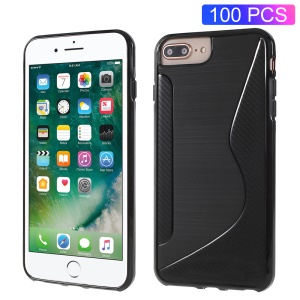 100PCS/Lot S-Shape Brushed TPU Gel Case for iPhone 8 Plus / 7 Plus / 6s Plus / 6 Plus - Black