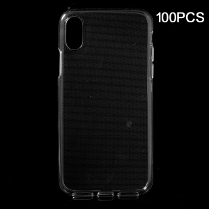 100PCS Clear TPU Mobile Phone Cover Shell with Non-slip Inner for iPhone XS / X 5.8 inch - Transparent