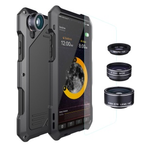 Shockproof Dirt-proof Waterproof Case with Fisheye/Wide-angle/Macro Lens for iPhone X - Black