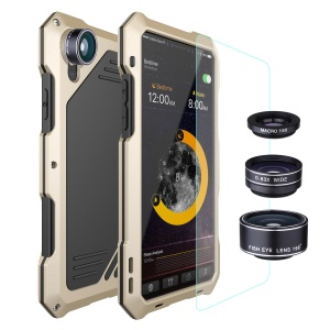 Shockproof Dirt-proof Waterproof Mobile Casing with Fisheye/Wide-angle/Macro Lens for iPhone X - Gold