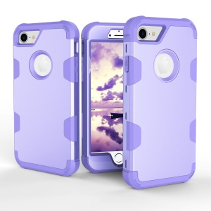 Heavy Duty 3-piece PC + Silicone Drop-proof Combo Protection Shell for iPhone 8/7 4.7 inch - Purple