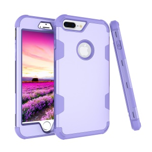 Anti-dust Heavy Duty 3-piece PC + Silicone Drop-proof Hybrid Protection Cell Phone Casing for iPhone 8 Plus/7 Plus 5.5 inch - Purple