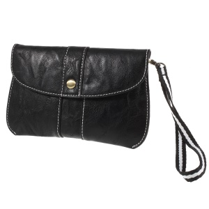 Universal Leather Waist Pouch Bag with Hand Strap for iPhone 8/X - Black