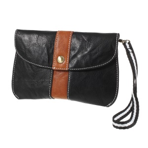 Universal Leather Waist Pouch Case Bag with Hand Strap for iPhone 8/X - Black / Brown