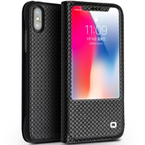 QIALINO for iPhone X / Xs Business View Window Textured Genuine Leather Stand Case - Grid Texture / Black