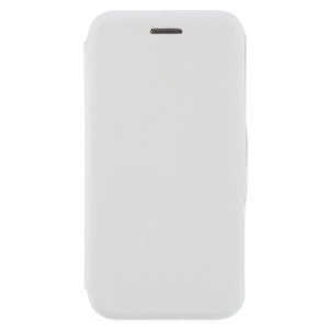 Cloth Texture Card Holder Leather Cover with Stand for iPhone 8 / 7 4.7 inch - White