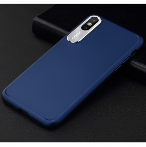 ROCK Classy Series Aluminum Alloy Patch PC Hard Phone Casing for iPhone X 5.8-inch - Blue
