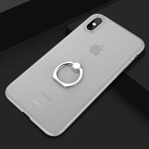 ROCK Ultra-thin Matte PP Back Cover with Ring Kickstand for iPhone X - Transparent