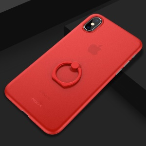 ROCK Ultra-thin Matte PP Mobile Phone Shell with Ring Kickstand for iPhone X - Red