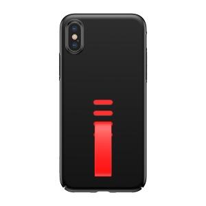 BASEUS Little Tail Series Hard PC Back Phone Casing with Finger Grip Ring Holder for iPhone X 5.8 inch - Red/Black