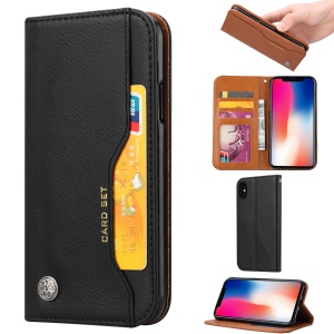 Auto-absorbed PU Leather Wallet Stand Case for iPhone XS / X 5.8 inch - Black