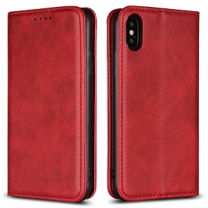 Magnetic Stand Leather Wallet Cover for iPhone X - Red