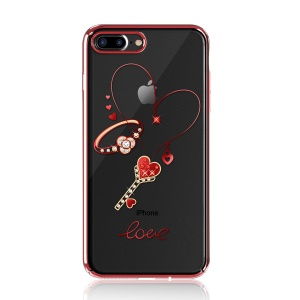 KINGXBAR Authorized Swarovski Crystal Decoration Electroplated PC Hard Cover for iPhone 8 Plus / 7 Plus 5.5 inch - Ring and Magic Stick