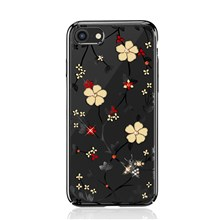 KAVARO Honeybee Series Rhinestone Flower Plated PC Case for iPhone 8/7 4.7-inch - Black