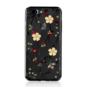 KAVARO Honeybee Series Rhinestone Flower Plated Plastic Case for iPhone 8 Plus / 7 Plus - Black