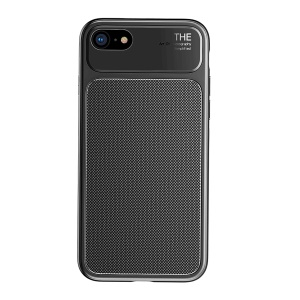 BASEUS Knight Series Diamond Pattern High Aluminum Glass + Soft TPU Hybrid Cell Phone Back Cover for iPhone 8 / 7 4.7 inch - Black