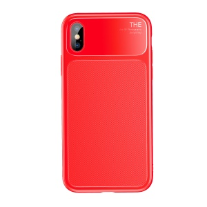 BASEUS Knight Series Diamond Pattern High Aluminum Glass + Soft TPU Hybrid Case Cover for iPhone X - Red