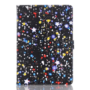 Starry Sky Pattern Smart Awakening Stand Leather Wallet Flip Shell for iPad 9.7 (2018) / 9.7 (2017) - Blue